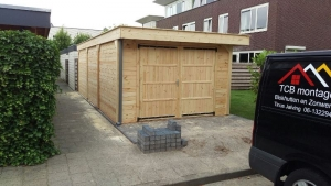 PM 40mm ! garage/hobbyschuur met overkapping PM 12x12  28mm 500x350 + luifel 300x350